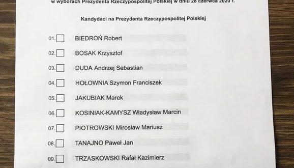 karta wyborcza - głosowanie