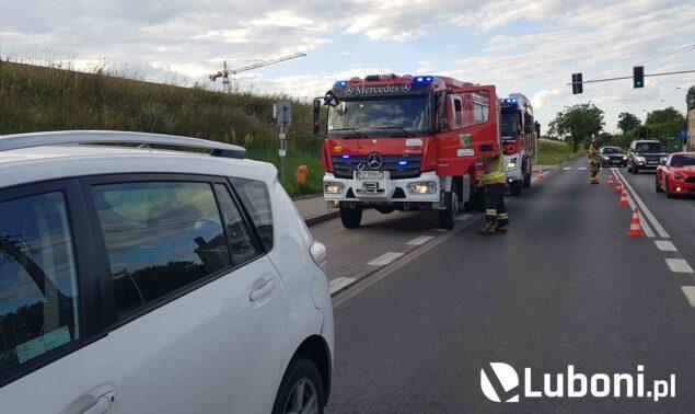 wypadek na ulicy Armii Poznań w Luboniu