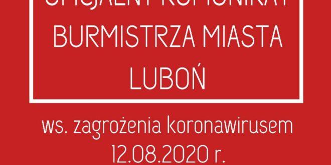 komunikat burmistrza Lubonia