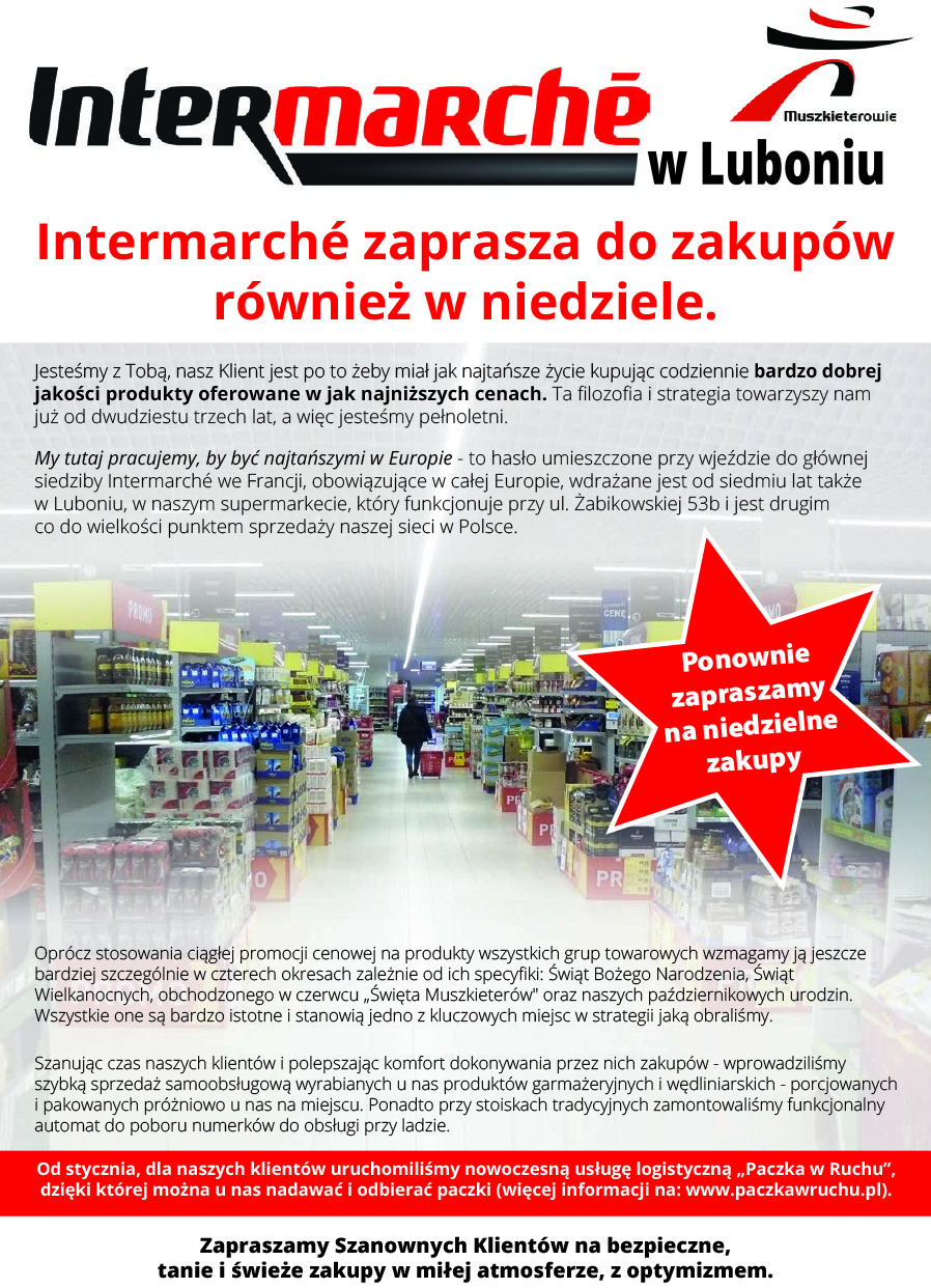 Intermarché zaprasza do zakupów również w niedziele