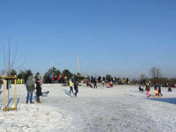 Sanki w Luboniu - Wzgórze Papieskie fot. Paweł Wolniewicz