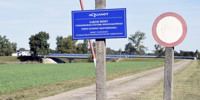 Ujęcie wody w Krajkowie - tablica Aquanet